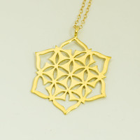 Flower of life pendant - Flower of life necklace, Sacred geometry necklace