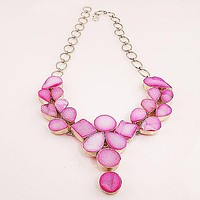 Sparkling Pink Drusy Quartz Sterling Silver Necklace