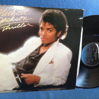 "Vintage, Michael Jackson ""Thriller"" Vinyl LP, Record Album, Original 1982 Press, Beat It, Billie Jean, Human Nature, P.Y.T. Paul McCartney"