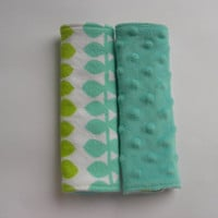 Graphic Leaves Flannel & Tiffany Blue Minky Reversible Car Seat Strap Covers