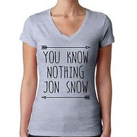 Women's V Tee Shirt You Know Nothing Jon Snow