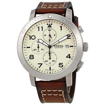 Fossil Major Cream Dial Mens Brown Leather Chronograph Watch CH3084