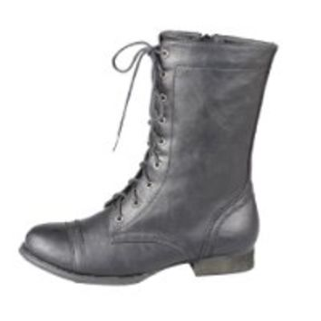 Refresh Libby-01 Women's Side Zipper Lace Up Combat Boots