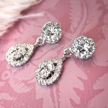 Gatsby Bridal Earrings, 1920s Bridal Rhinestone Vintage Earrings, 1920s Earrings, Wedding Earrings, Chandelier Earrings - EMMY