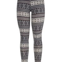 Nordic Print Leggings - Gray Smoke Combo