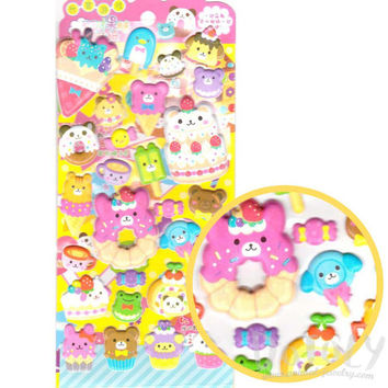 Dessert Sweets Food Themed Bear Shaped Animal Puffy Stickers | Cute Animal Themed Scrapbook Decorating Supplies