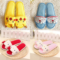 Hot Pokemon Pikachu Adult Plush Slipper 1 Pair Anime Cosplay Totoro Doraemon Cute Skidproof COS Slippers