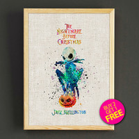 Jack Watercolor Art Print Tim Burton Nightmare Before Christmas Poster House Wear Wall Decor Gift Linen Print - 25s2g