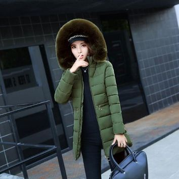 winter jacket women 2017 fashion slim long  jacket brands parka female Heavy hair collar jacket outerwear winter coat women