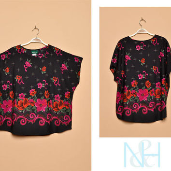 Vintage 1970s Black Blouse with Floral Print Details