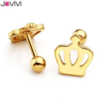 JOVIVI New Style 1.1mm(16 Gauge) Unisex Stainlss Steel Crown Style Barbell Cartilage Earrings/Tragus Helix/Stud Earrings 2-6pcs