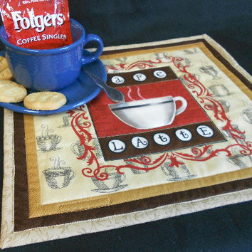 Coffee Mug Rug - Snack Mat - Moda Fabric - Java by Deb Strain - Quilt by SEWFUNQUILTS