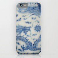 Damask vintage Monaco blue white girly ginger jar floral antique chinese dragon chinoiserie china iPhone & iPod Case by IGallery