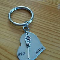 Hand Stamped Lacrosse Keychain Lacrosse Mom - Girls Lacrosse Keychain - Personalized Lacrosse Bag Charm - LAX