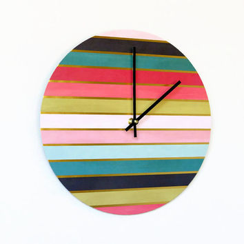 SALE Unique Wall Clock, Gold Stripes, Home Decor,  Decor and Housewares, Home and Living