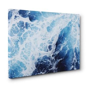 Blue Ocean Surf 2 - Gallery Wrap Canvas, Surf Ocean Water Wall Art Hanging, Coastal Nautical Style Home Decor. 8x10 11x14 16x20 20x24 24x36