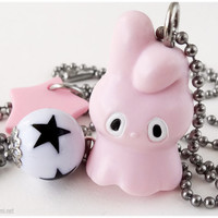 My Melody Charm Necklace, Kawaii Ghost Pendant, Stainless Steel Ball Chain - Pastel Goth