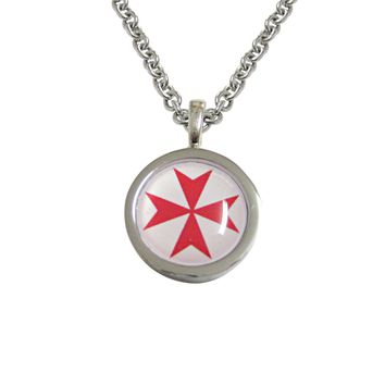 Bordered Red Maltese Cross Pendant Necklace