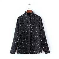 Dots Print Ruffled Collar Long Sleeve Shirts