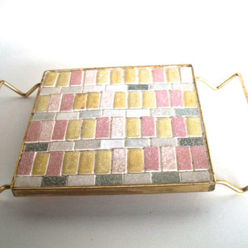 Vintage Trivet  With Mosaic Tile In Metal Frame With Handles Pink Yellow Gray