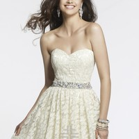 Faviana 7435 - Ivory/Gold Strapless Lace Prom Dresses Online