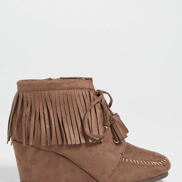 Danielle faux suede wedge with fringe in taupe | maurices