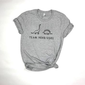 TEAM HERBIVORE TEE dinosaur t shirt Women Funny Fashion Clothes tees tshirt Female Short Sleeve Crewneck Tumblr  t-shirt