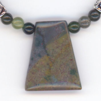 Blue Green Gemstone Necklace and Pendant Jasper and by Lehane