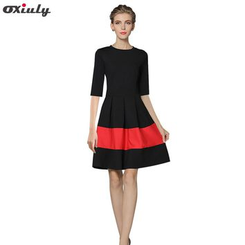 Oxiuly Autumn Black Patchwork Red A-Line Dress Chic Gorgeous Audrey Hepburn Ball Gown Half Sleeve Vintage Big Swing  Dress