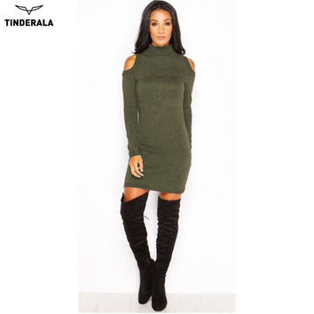 2017 Woman Winter Dress Knitted Dress Turtleneck off shoulder Long Sleeve Women Sweater Dresses Sweaters and Pullovers