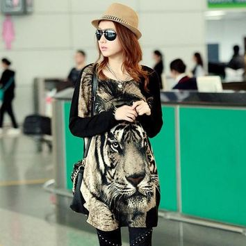 2017 Fashion new plus size women dress batwing sleeve tiger printed summer loose oversized woman tunic casual lady top 4XXXXL