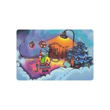 Autumn Fall welcome door mat doormat Fairy Children's Christmas Tree Anti-slip  Home Decor, Funny Mouse House Indoor Outdoor Entrance  AT_76_7