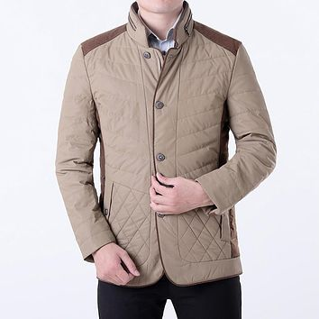7 xl winter collar cotton-padded jacket High quality white goose down down jacket Dad plus-size middle-aged leisure coat