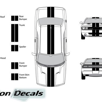 "Dodge Challenger 2012 Dual 8"" Rally Racing Stripes Vinyl Decal Kit"