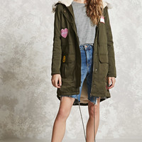 Patched Faux Fur Hooded Parka - Women - Outerwear - 2000213754 - Forever 21 Canada English