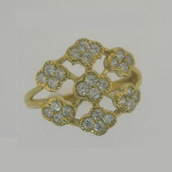 0.75ct. Genuine diamond cluster right hand ring in 10k white or yellow gold