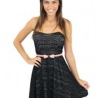 Short Black Dress With Pink Belt