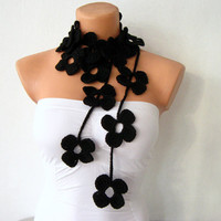 Black Flower Lariat Scarf Necklace by fairstore on Etsy