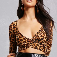 Leopard Surplice Crop Top