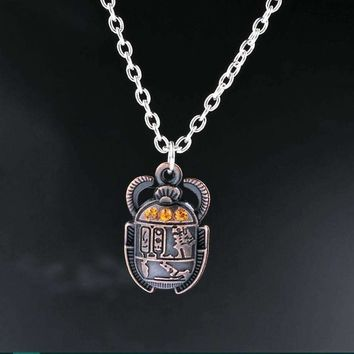 Egyptian Scarab Beetle With Rhinestones Charms Alloy Pendants