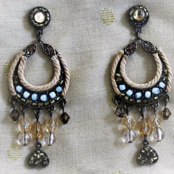 Vintage Boho Earrings, Chandelier Earrings, Hippie Earrings, Tribal Earrings, Gypsy Earrings, Dangle Earrings, Drop Earrings, Bead Earrings