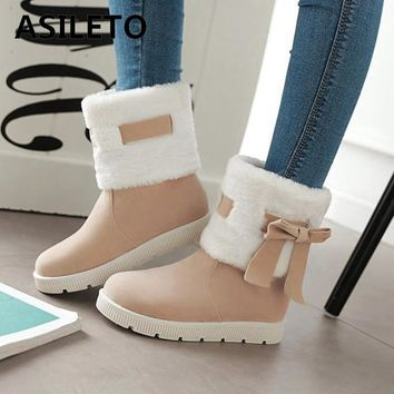 ASILETO Women's Winter Snow Boots Woman Platform Ankle Boots Warm Cotton Shoes Women Boots Female bota feminina  footwear A811s