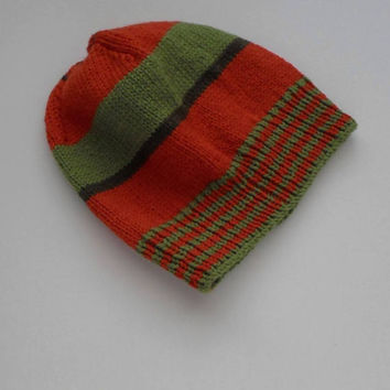 Wool Hat Teenager Small Adult Size Slouchy Cap Rust Light Olive Stripes Ready to Ship