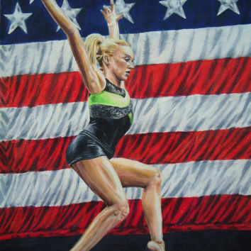 Colored pencil drawing 'American Girl' - Portrait of Olympic gymnast Nastia Liukin - Sports Portraits - Hand drawn artwork