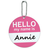 Annie Hello My Name Is Round ID Card Luggage Tag