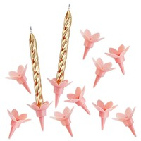 Pink Flower Birthday Candle Holders