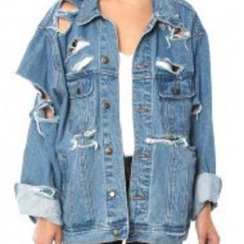 DISTRESSED DENIM JACKET AS SEEN ON KYLIE JENNER