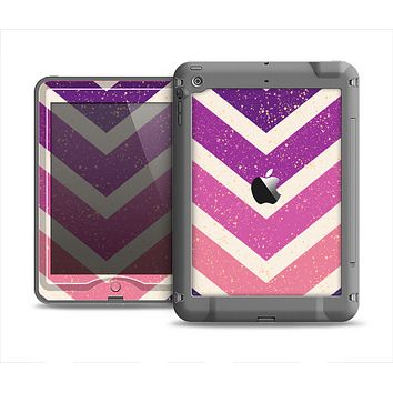 The Purple Scratched Texture Chevron Zigzag Pattern Apple iPad Mini LifeProof Nuud Case Skin Set