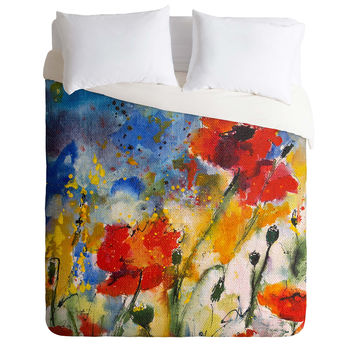 Ginette Fine Art Wildflowers Poppies 2 Duvet Cover