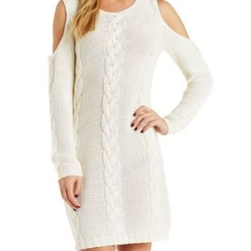 Cold Shoulder Cable Knit Sweater Dress by Charlotte Russe